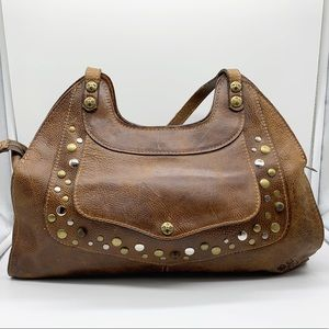 PATRICIA NASH STUDDED LEATHER HOBO LARGE